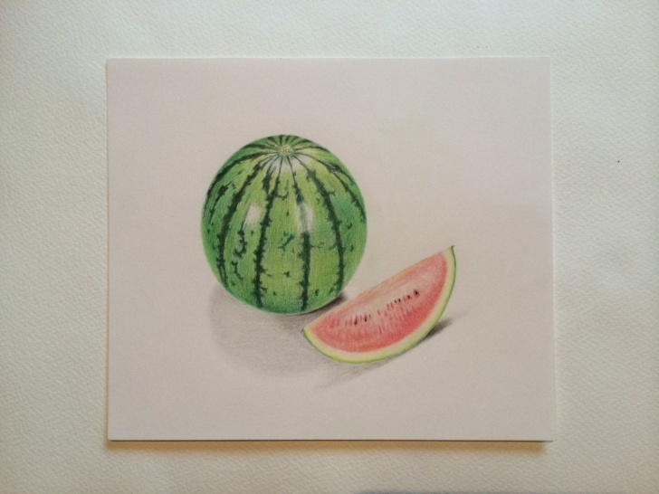 Top Watermelon Pencil Drawing Techniques for Beginners Watermelon Colored Pencil Drawing ,still Life Painting ,kitchen Art Photos