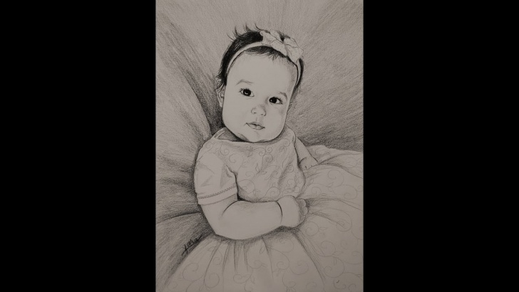 Wonderful Baby Girl Pencil Drawing Tutorial 32. Beautiful Baby Girl - Pencil Portrait, By Kara Pictures