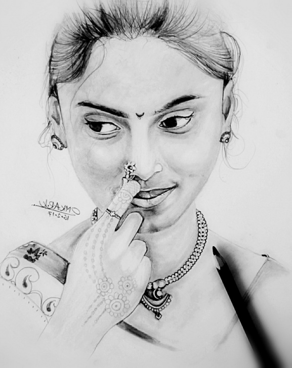 Beautiful Women Pencil Sketch