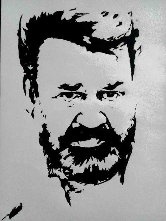 Wonderful Black Stencil Art Lessons Mohanlal Drawing Villan | George Recklin In 2019 | Pencil Drawings Image