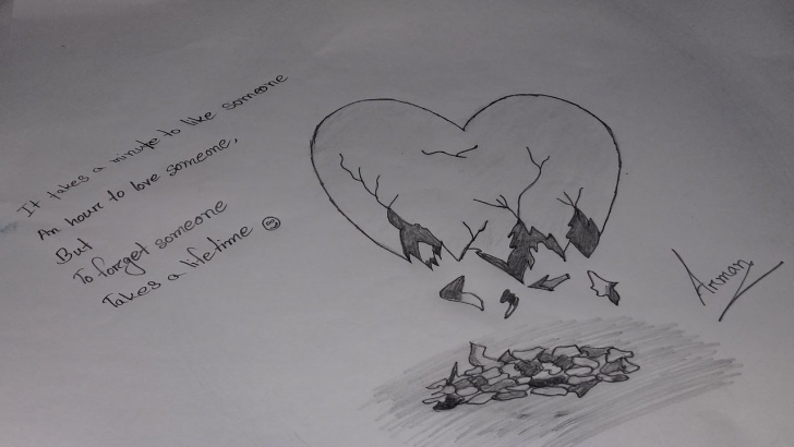 Wonderful Broken Heart Pencil Sketch for Beginners How To Draw A Broken Heart Image By Pencil Pic