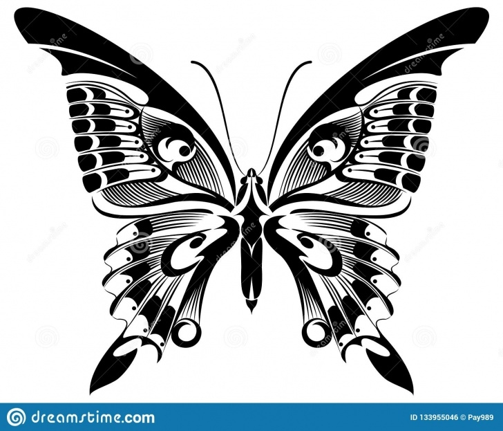 Wonderful Butterfly Stencil Art Tutorials Butterfly Black & White Silhouette Design Stock Illustration Picture