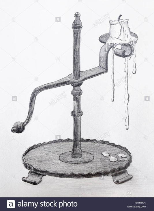 Wonderful Candle Pencil Drawing Tutorials Pencil Drawing Of An Old Antique Candle Holder - Grayscale On Stock Photo