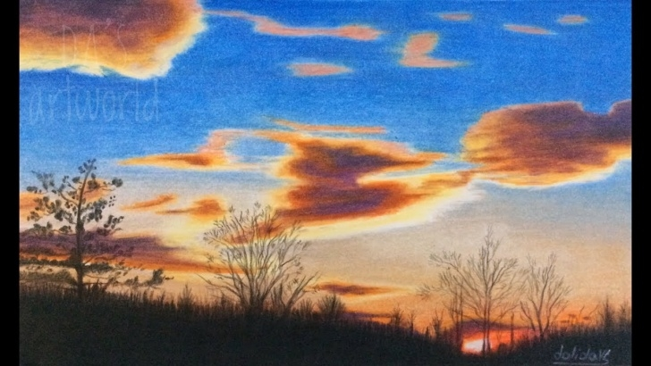 Wonderful Colored Pencil Sunset Courses Sunset Silhouette Colored Pencil Drawing - Speed Video Image