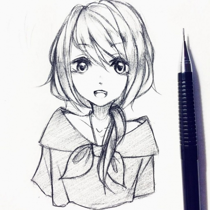 Wonderful Cute Anime Drawings In Pencil Easy Simple Anime Girl Drawing Pencil Sketch Of Cute Anime Girls Pics Picture