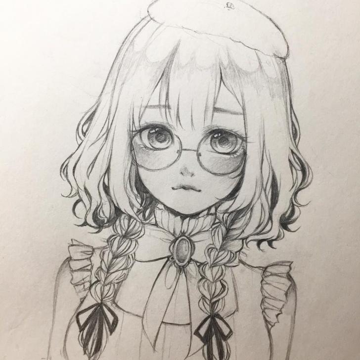 Wonderful Cute Anime Drawings In Pencil Ideas Glasses~ #anime #animedrawing #animegirl #sketch #drawing #manga Images