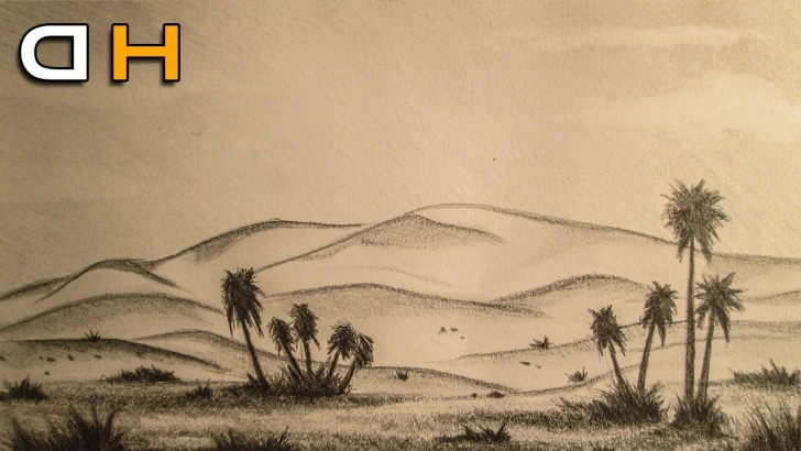 Wonderful Desert Pencil Drawing Lessons Pencil Sketch Of Desert And Desert Landscape Drawing - Landscape And Image