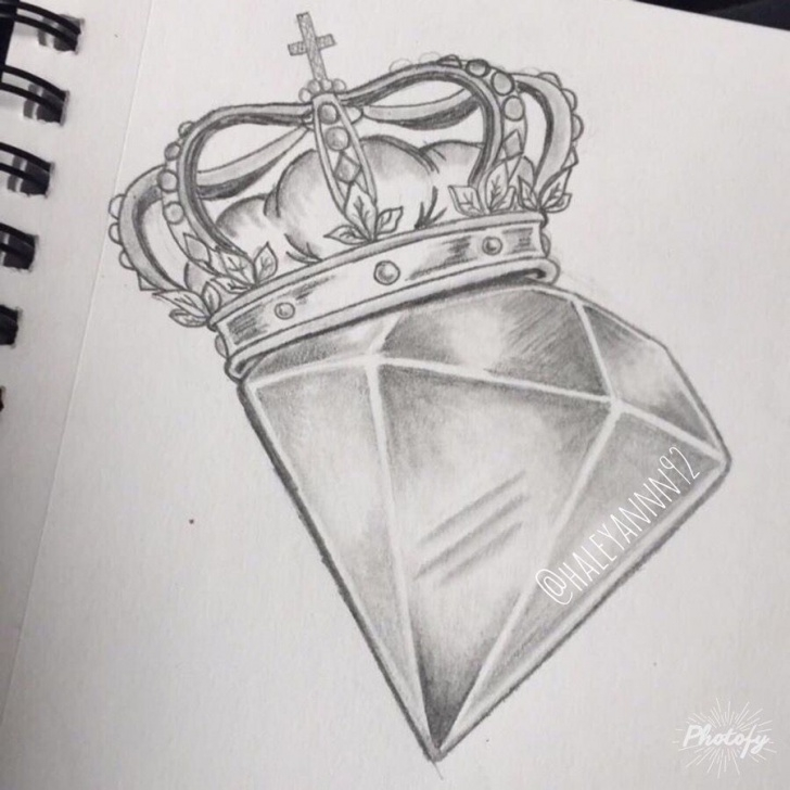 Wonderful Diamond Pencil Drawing Step by Step Diamond And Crown Sketch #art | Tattoos/art/piercing In 2019 Picture