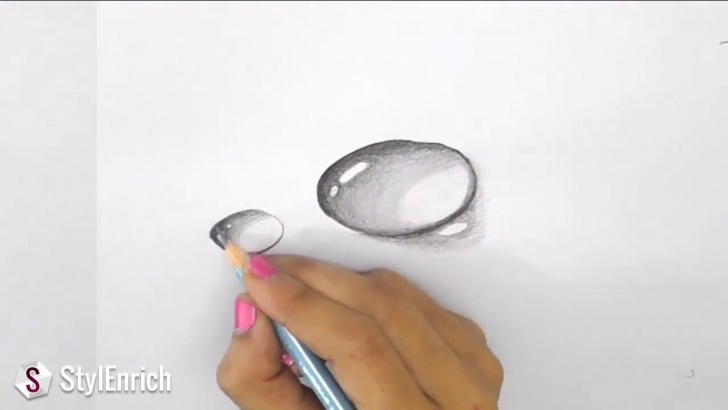 Wonderful Easy Drawings To Draw In Pencil Lessons Easy 3D Art Pencil Drawing: How To Draw 3D Dew Drop On Leaf: 5 Steps Picture