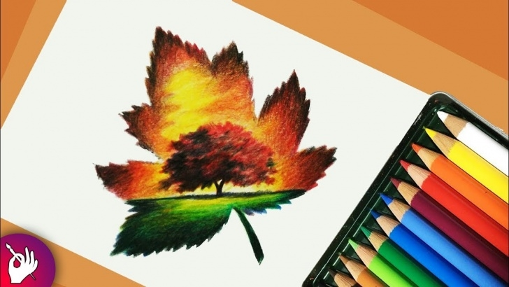 Wonderful Easy Pencil Colour Drawing Free Scenery Drawing With Pencil Colour - Landscape Scenery Image