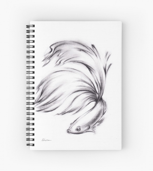 Wonderful Fish Pencil Sketch Lessons 'betta - Charcoal Pencil Drawing Of A Siamese Fighting Fish' Spiral  Notebook By Rebecca Rees Image