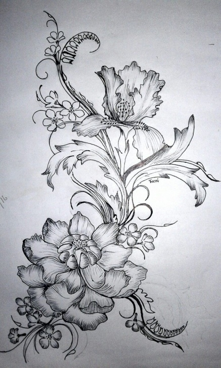 Wonderful Flower Design Pencil Drawing Tutorial Flower Design,, Pencil Drawing *** | Drawings | Drawings, Pencil Pic