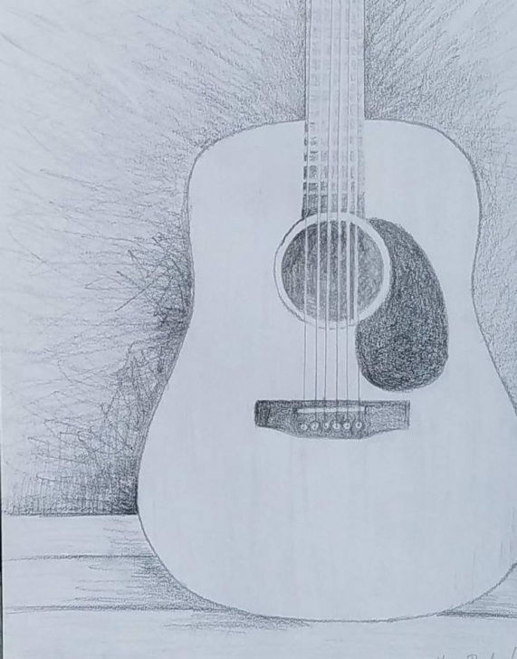 Wonderful Guitar Pencil Art Courses Acoustic Guitar Pencil Drawing, Guitar Lover Gift, Music Room Decor,  Instrument Wall Art, Music Themed Bedroom, Rock And Roll Nursery Image