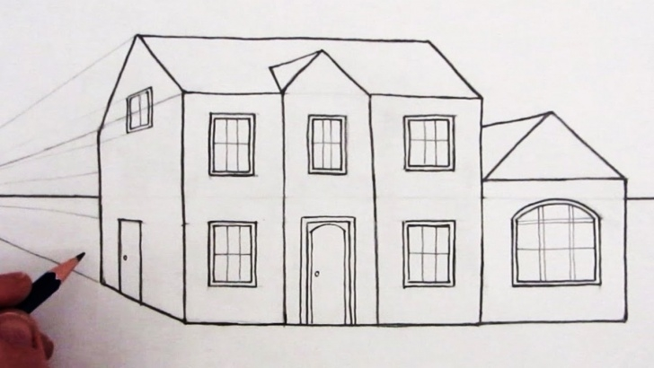 Wonderful House Pencil Drawing Tutorials How To Draw A House In 1-Point Perspective: Narrated Picture