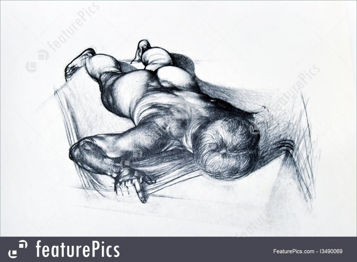Wonderful Human Body Pencil Drawing Simple Fine Art: Pencil Drawing Of Human Anatomy Of Man Body Pic