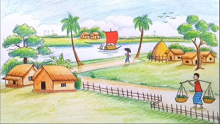 Wonderful Images For Drawing Natural Scenary Free How To Draw A Scenery Of Beautiful Nature / Landscape Step By Step Photo
