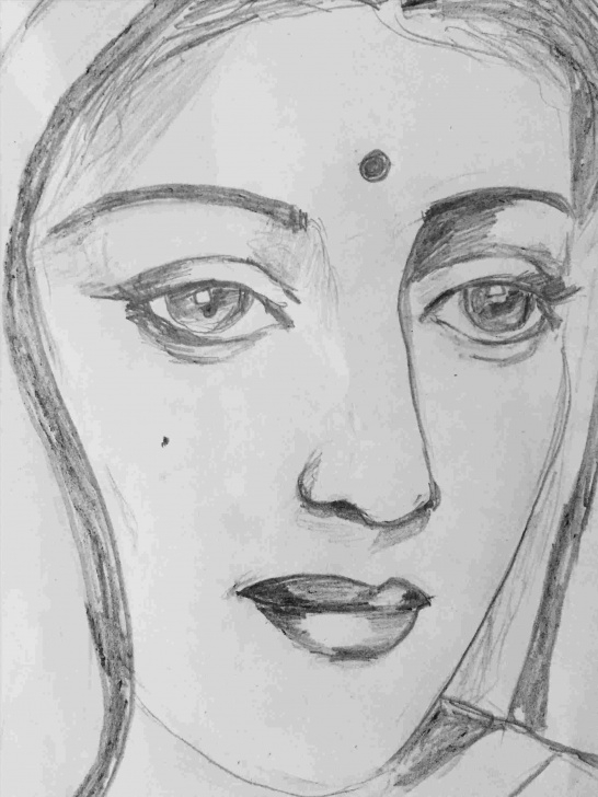 Wonderful Indian Pencil Drawing Courses Sketch Indian Woman Drawing Picture