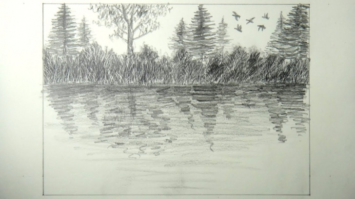 Wonderful Lake Pencil Drawing Techniques How To Draw A Quick Lake View Landscape Using Scratch Technique Picture