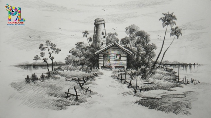 Wonderful Landscape Drawing Pencil Shading Courses Learn Easy & Simple Shading A Landscape With Pencil | Landscape Pencil Art Pictures