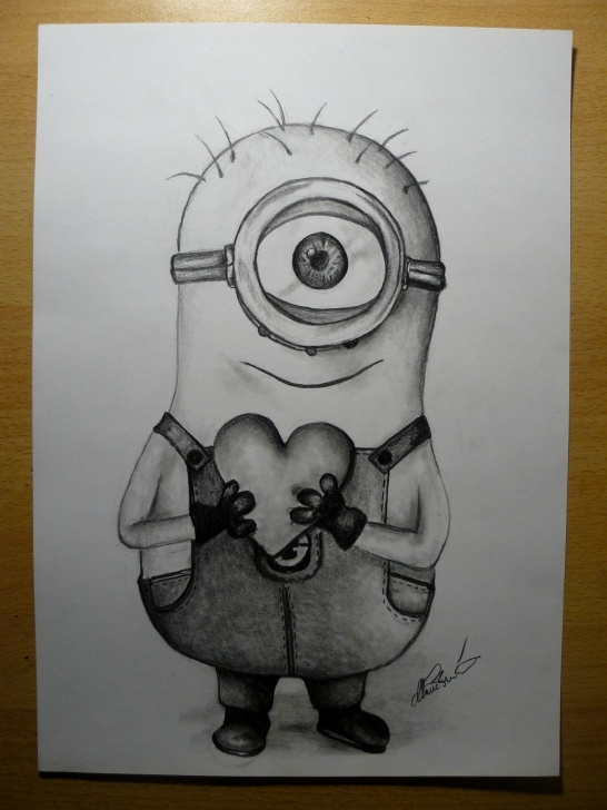 Wonderful Minions Pencil Sketch Courses Cute Minion - By @klarawalkova | Dravings In 2019 | Pencil Drawings Pictures