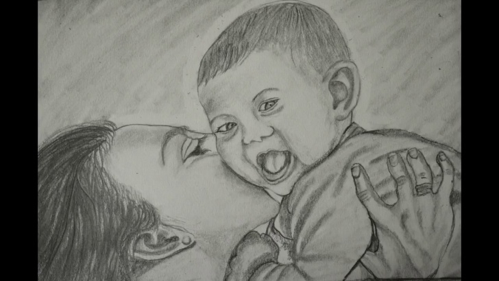 Wonderful Mom And Baby Pencil Drawing Courses Pencil Art Of Mother And Baby Pic