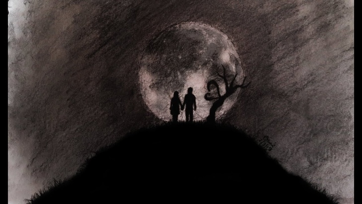 Wonderful Moon Pencil Sketch Courses Abstract Love And Moon Drawing | Couple Drawing With Charcoal Pencil Pic