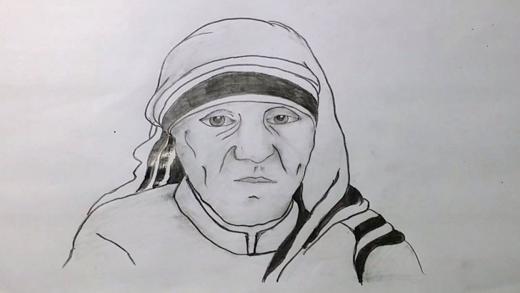 Wonderful Mother Teresa Pencil Drawing Easy How To Draw Mother Teresa Picture With Pencil Sketch Techniques Step By Step Picture