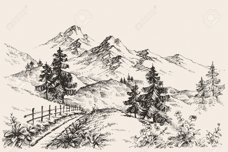Wonderful Mountain Scenery Sketch Tutorials Stock Vector In 2019 | Pencil - Tree Sketching Methods | Mountain Images