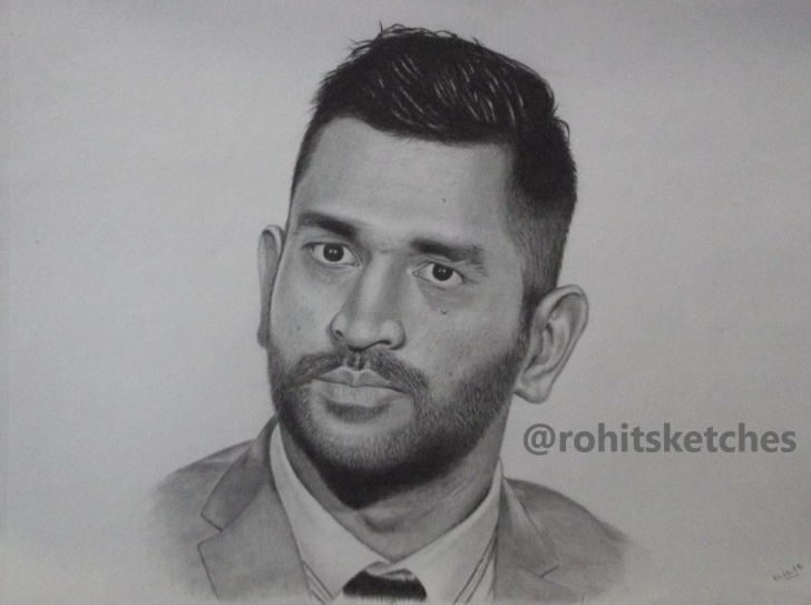 Wonderful Ms Dhoni Pencil Sketch Techniques Ms Dhoni Drawing | Rohit Dhiman Sketches In 2019 | Art Sketches Photos