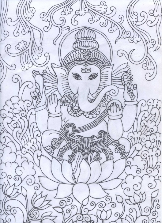 Wonderful Mural Pencil Drawings Courses Ganesha Mural Pencil Sketch | Kerala Mural | Kerala Mural Painting Image