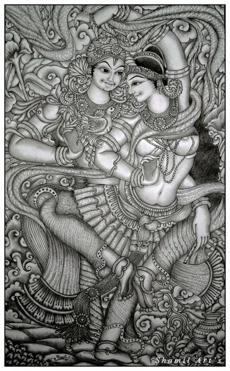 Wonderful Mural Pencil Drawings Lessons Radha Krishna Mural Pencil Drawing By Shamilart | Kerala Murals Image
