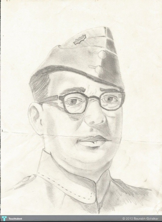 Wonderful Netaji Subhas Chandra Bose Pencil Sketch Courses Netaji Subhash Chandra Bose - Creative Art In Sketching By Saurabh Photo