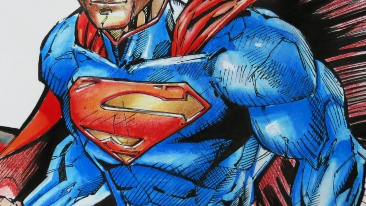 Wonderful Pen And Colored Pencil Drawings Simple Pencil Sketch Superman And Drawing Superman - Watercolor, Ink Pen Images