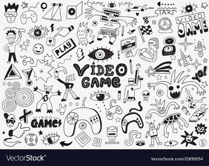 Wonderful Pencil Doodle Art Easy Video Games Doodle Set Pencil Drawings Pics