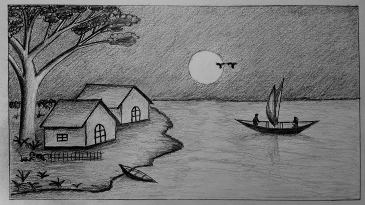 Wonderful Pencil Drawing Of Night Scene Courses How To Draw Moonlight Night With Pencil Step By Step Picture