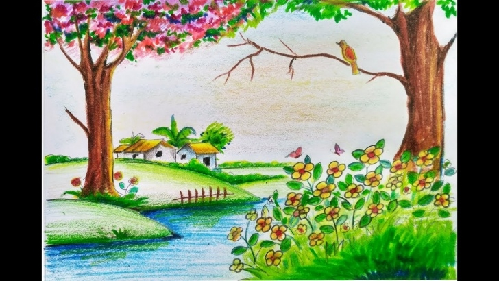 Wonderful Pencil Drawing Of Spring Season for Beginners How To Draw Scenery Of Beautiful Spring Season Step By Step || Easy || For  Kids Photos