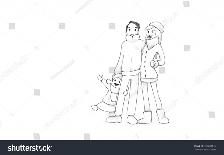 Wonderful Pencil Drawings Of Happy Family for Beginners Pencil Drawing Happy Family Having Fun Stock Illustration 164021579 Pics