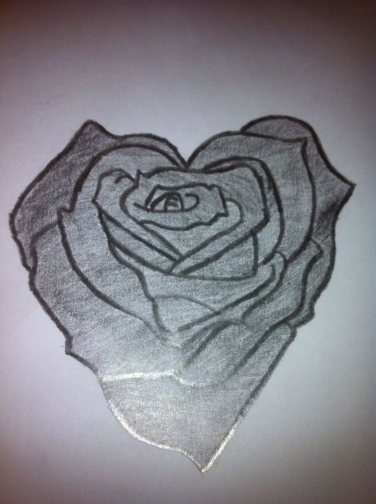 Wonderful Pencil Drawings Of Roses And Hearts Techniques Pencil Drawings Of Hearts Love | Heart Shaped Rose Drawing Photos