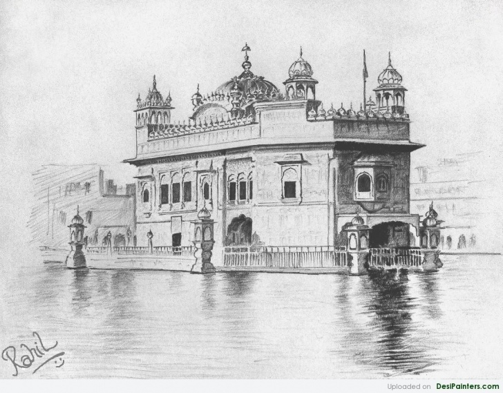 Wonderful Pencil Drawings Temple Free Pencil Sketch Of Golden Temple | Desipainters Image