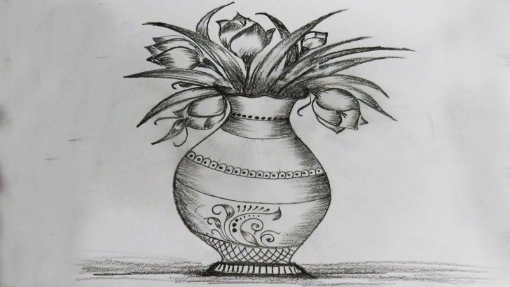 Wonderful Pencil Shading Drawing Easy Simple How To Draw Flower Vase Drawing For Beginners - Very Easy Step By Step  Pencil Shading - Basic Draw Photo