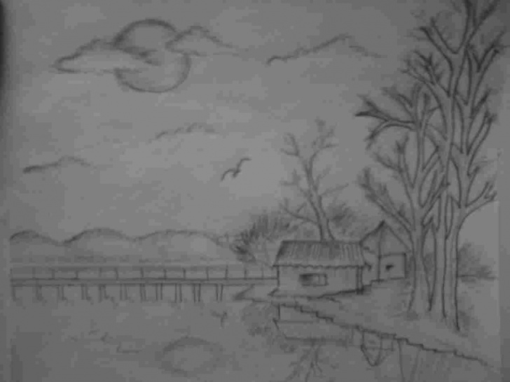 Wonderful Pencil Shading Drawings Scenery Simple Nature Easy Pencil Shading Image