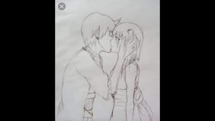Wonderful Pencil Sketch Of Kissing Couple Simple Romantic Love Couple Kissing Pencil Sketch. Drawing. Learn How To Draw. Image