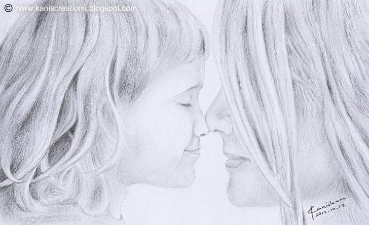 Wonderful Pencil Sketches Of Mother And Daughter Ideas Images For > Pencil Drawing Love Heart | Projects To Try | Pencil Image