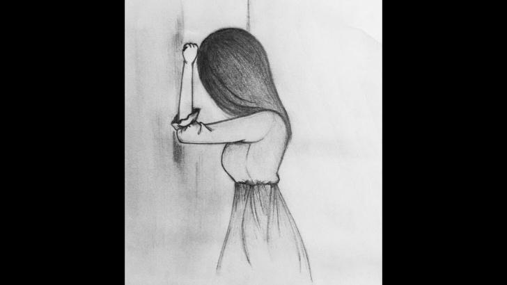 Wonderful Pencil Sketches Of Sad Girl Easy How To Draw A Sad Girl Pencil Sketch. Easy Drawing Tutorial. Photos
