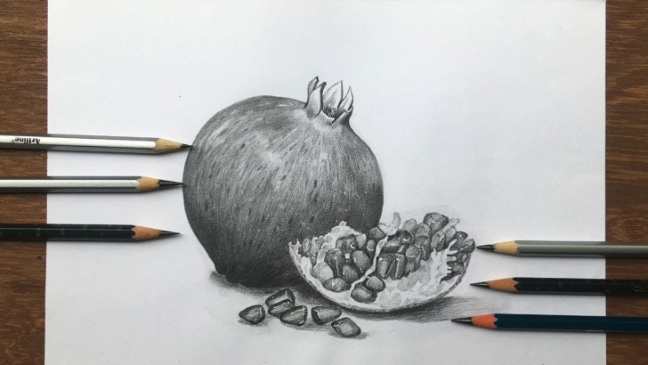 Wonderful Pomegranate Pencil Drawing Lessons How To Draw Pomegranate With Pencils Sketch | Fruit Drawing Step By Step Picture
