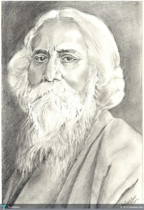 Rabindranath Tagore Pencil Sketch