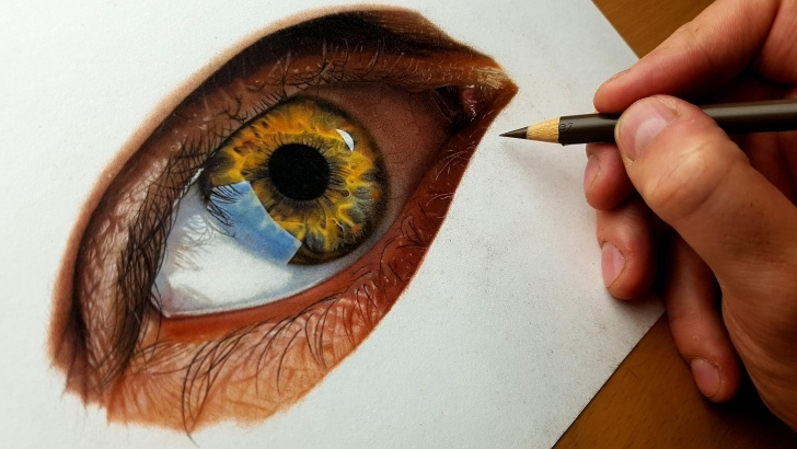 Wonderful Realistic Colored Pencil Drawings Tutorial Realistic Eye Drawing Done In Colored Pencils : Drawing Pics