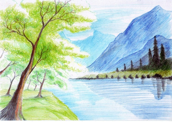 Wonderful Scenery Colour Pencil Drawing Easy Landscape With Color Pencil | #nerd | Colorful Drawings, Color Pic
