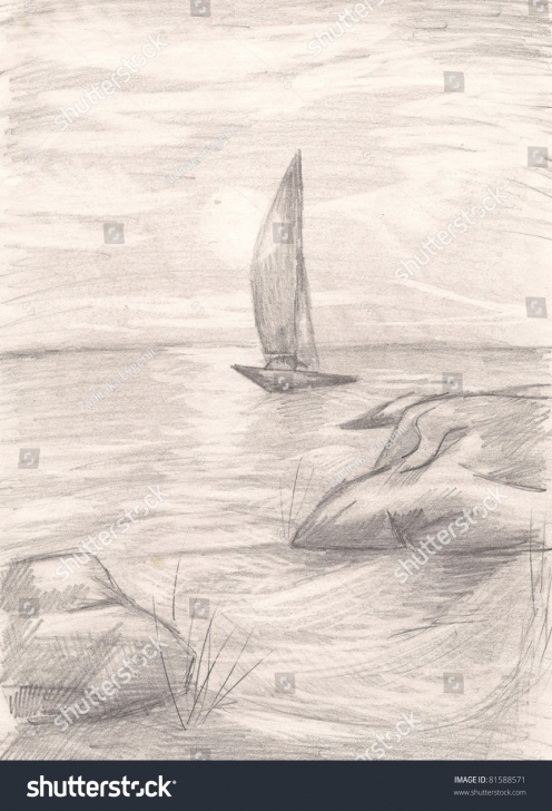 Wonderful Sea Pencil Drawing Techniques Ship Sea Pencil Drawing Stock Illustration 81588571 Pics