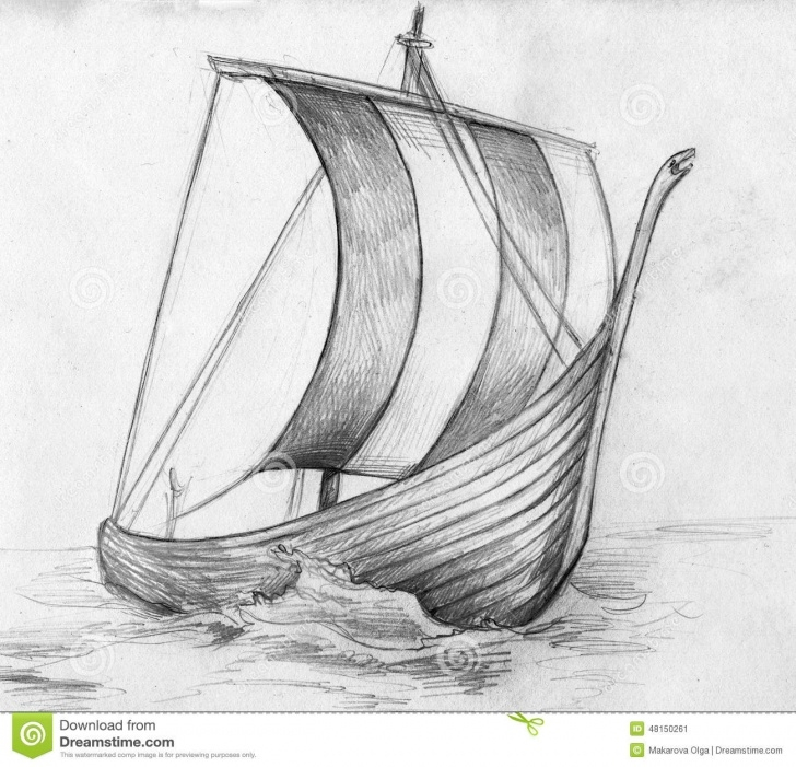 Wonderful Ship Pencil Sketch Step by Step Sketch Of A Viking Ship - Drakkar Stock Illustration - Illustration Pic